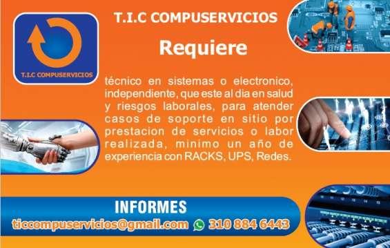 Se busca técnico en sistemas o electronico.