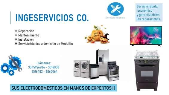 Reparación y mantenimiento de televisores, neveras, nevecones, lavadoras y secadoras